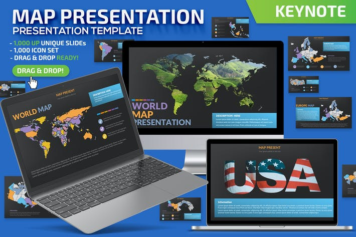 Thumbnail for Map Keynote Presentation Template