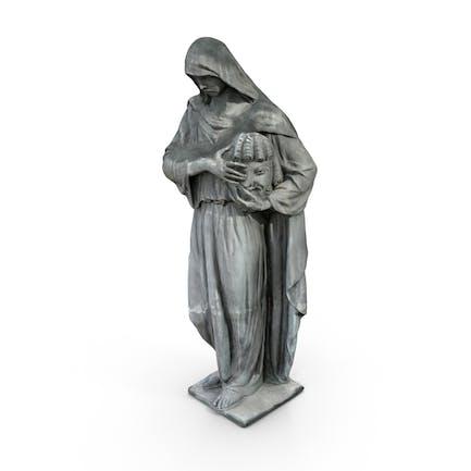 Figura con la estatua de la máscara