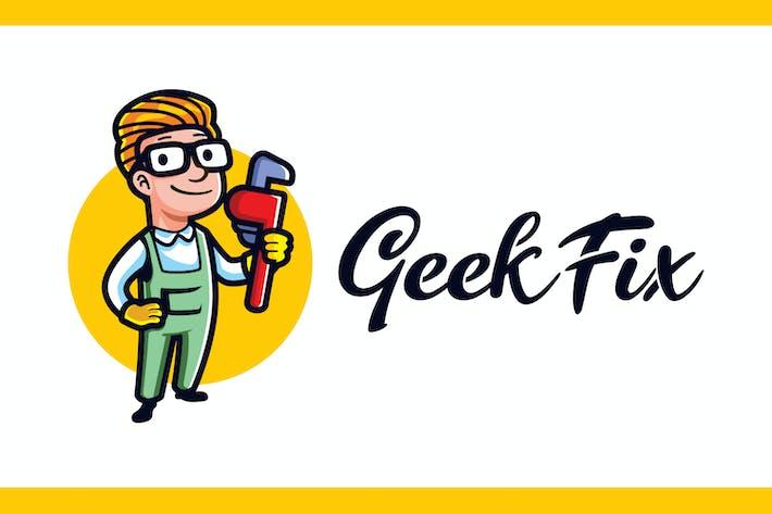 Thumbnail for Cartoon Geek Plumber Mascot Logo