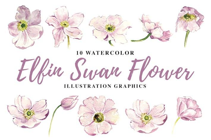 Thumbnail for 10 Watercolor Elfin Swan Flowers Illustration