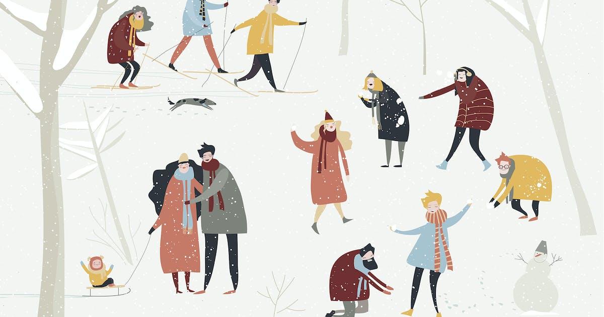 Download Cartoon happy people enjoying in the winter snowin by masastarus
