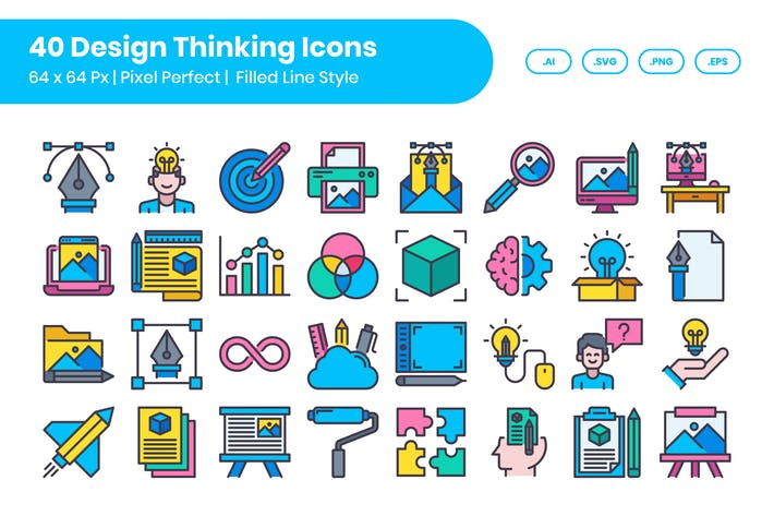 Thumbnail for 40 Design Thinking Icons Set - Filled Line