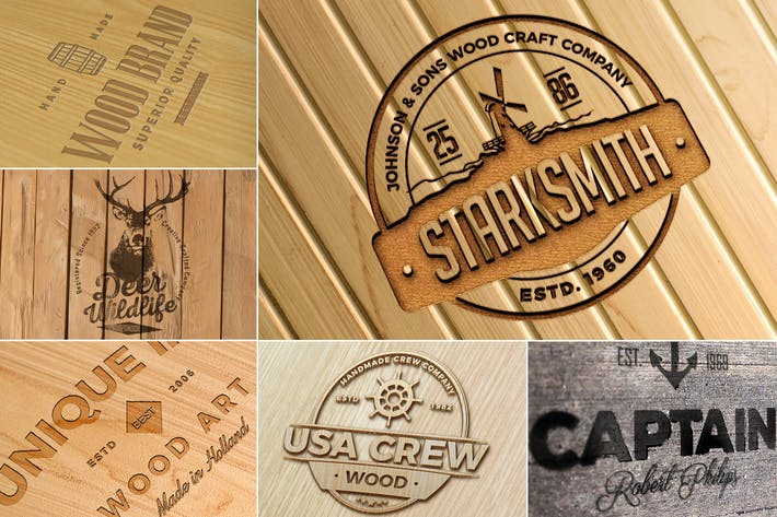 Thumbnail for Photo-realistic Wood Craft Logo Mockups