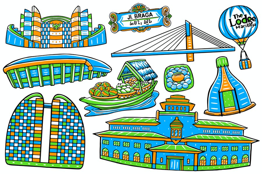 Bandung City Doodle Vector #02