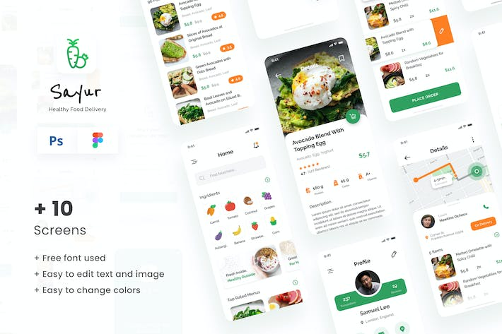 Thumbnail for Sayur - Healthy Food Delivery iOS UI App Design