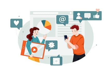 Concepto de ilustración de Marketing de motores de búsqueda (SEM)