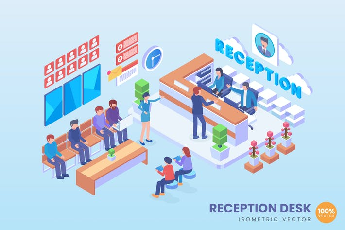 Thumbnail for Isometric Reception Desk Vector Concept