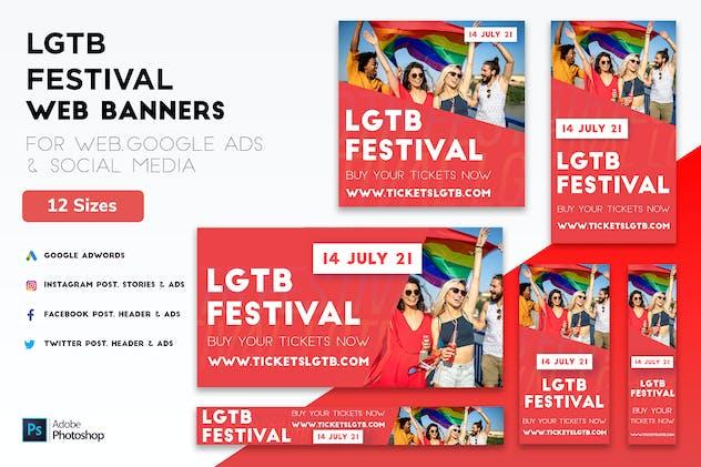 LGTB Gay Festival Web banners, Google Ads & Post