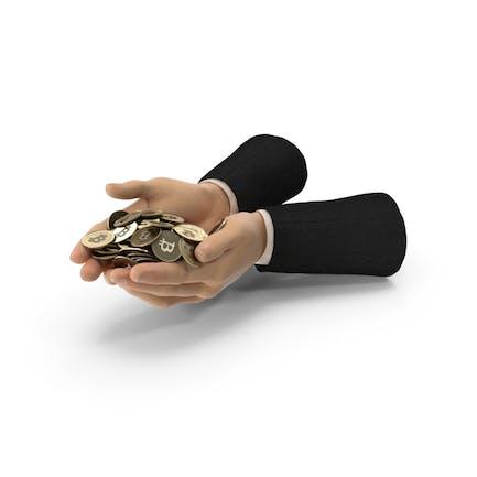 Suit Hands Holding Bitcoins