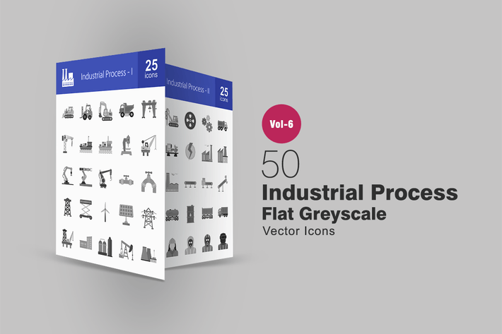 Thumbnail for 50 Industrial Process Flat Greyscale Icons