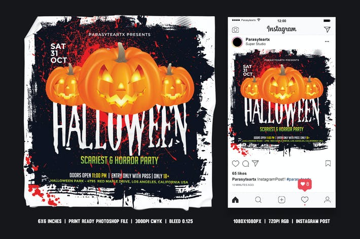Thumbnail for Halloween Square Flyer & Instagram Post