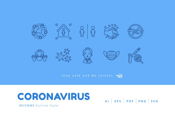 Thumbnail for 30 Icons Coronavirus (COVID-19) Outline Style