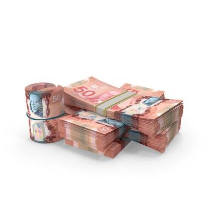 Kleiner Haufen Kanadischer Dollar-Stapel