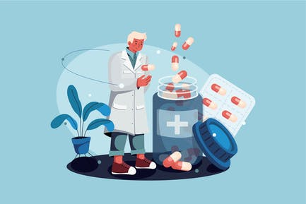 Pharmacist standing with drugs