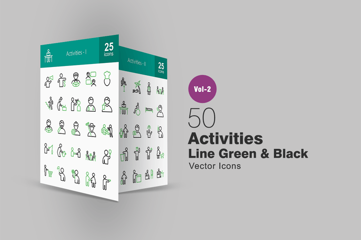 Thumbnail for 50 Activities Line Green & Black Icons