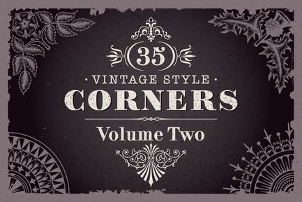 35 Vector Vintage Style Corners Set