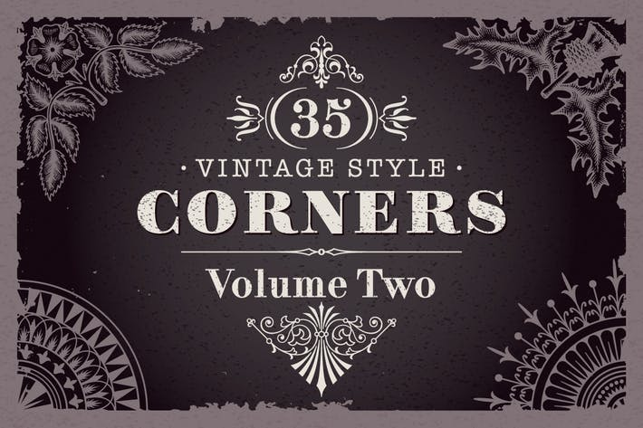 Thumbnail for 35 Vector Vintage Style Corners Set