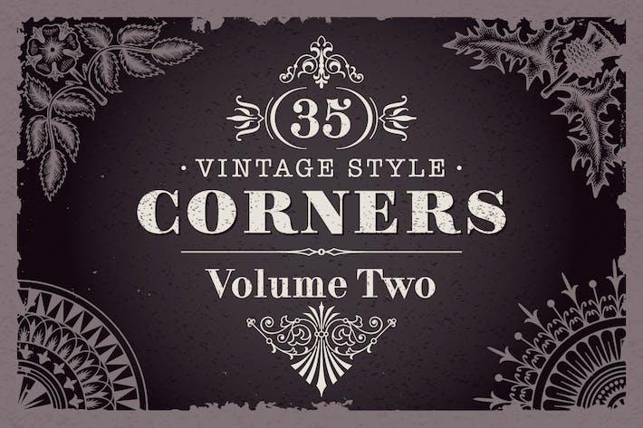 35 Vektor Vintage-Stil Ecken Set