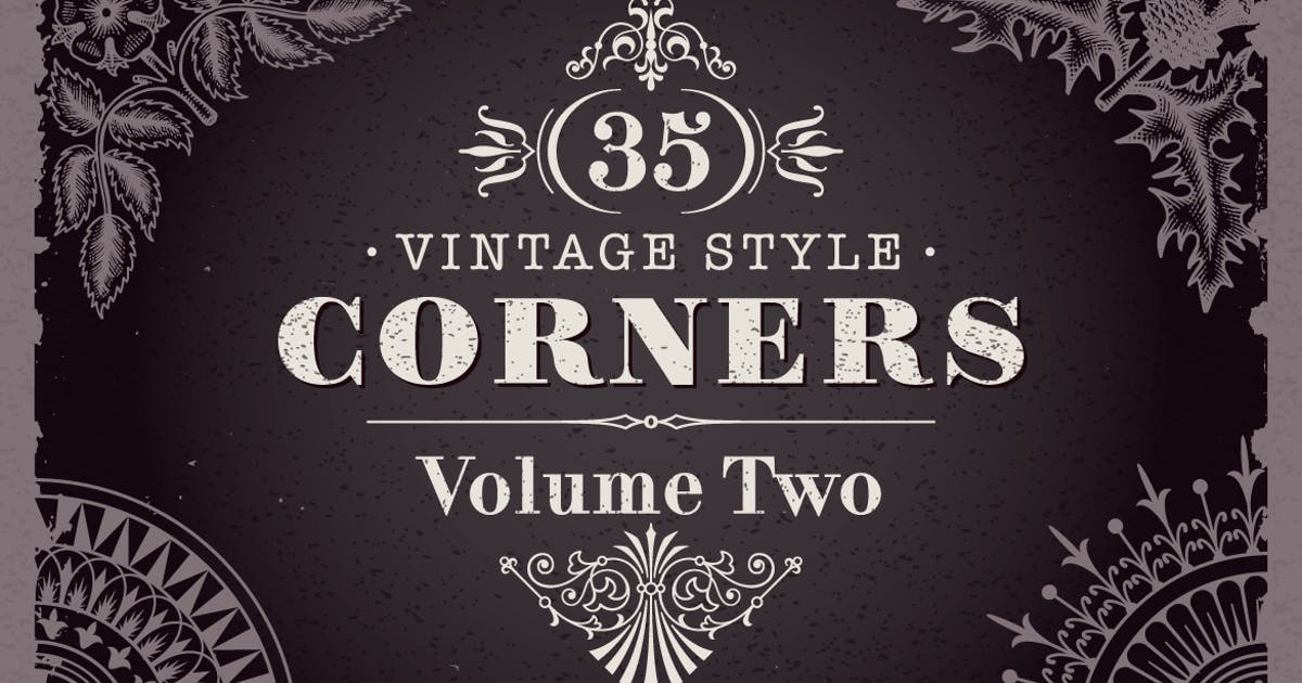 35 Vector Vintage Style Corners Set by Unknow