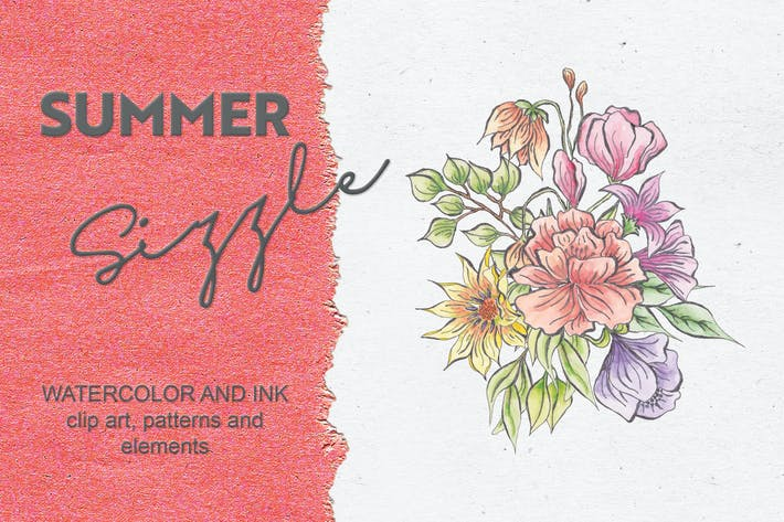 Thumbnail for Summer Sizzle: Watercolor and Ink Collection