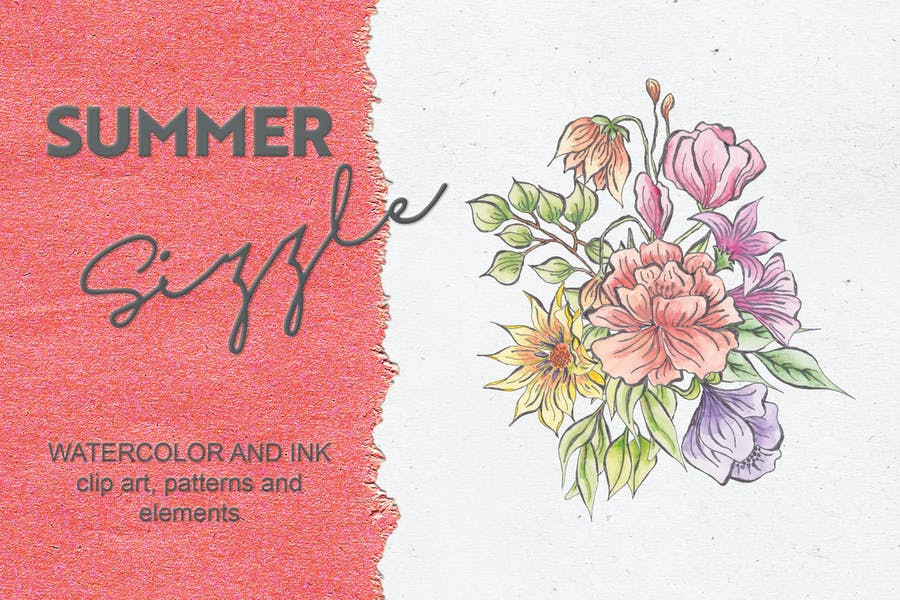 Summer Sizzle: Watercolor and Ink Collection