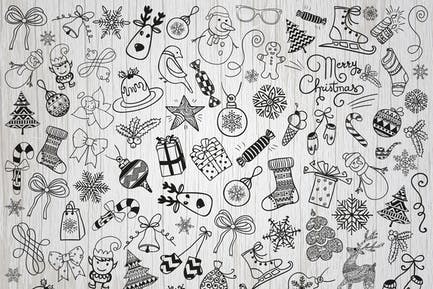 Christmas Doodles. Vector, PNG, SVG