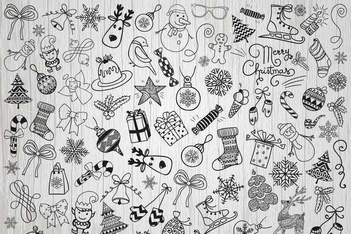 Thumbnail for Christmas Doodles. Vector, PNG, SVG