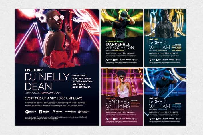 Thumbnail for Neon Nightclub Flyer Templates