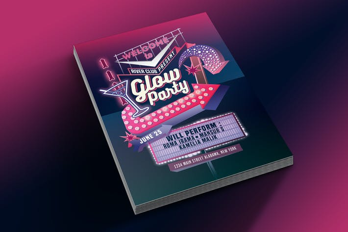 Thumbnail for Glow Party Motel Sign Flyer Template