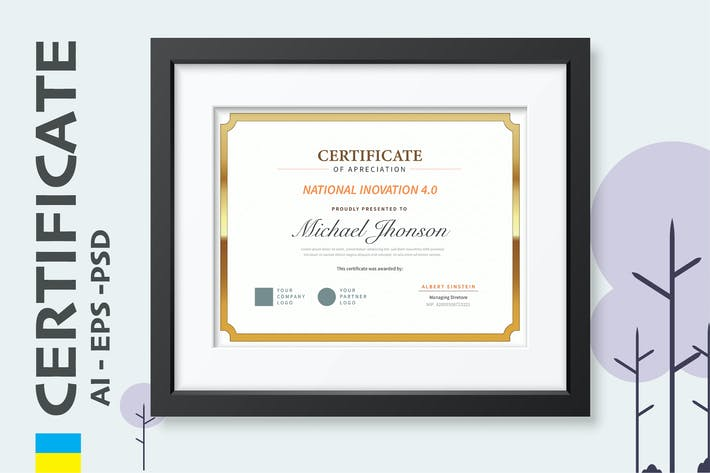 Thumbnail for Classic Gold Certificate / Diploma Template