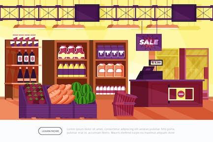 Super Market - Interior Background Illustration