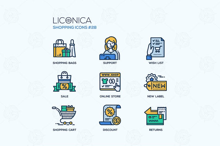 Thumbnail for Shopping - modern vector flat line icon set