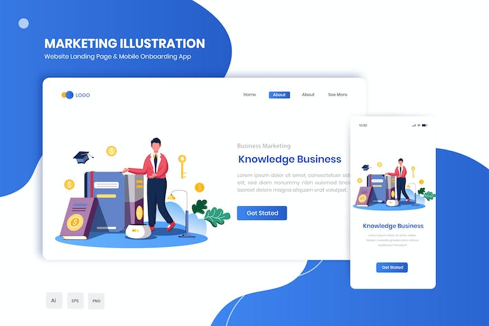 Thumbnail for Knowledge Business Flat Landing & Onboarding App