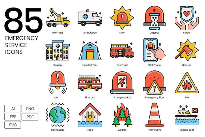85 Emergency Services Icons - Aesthetics Series