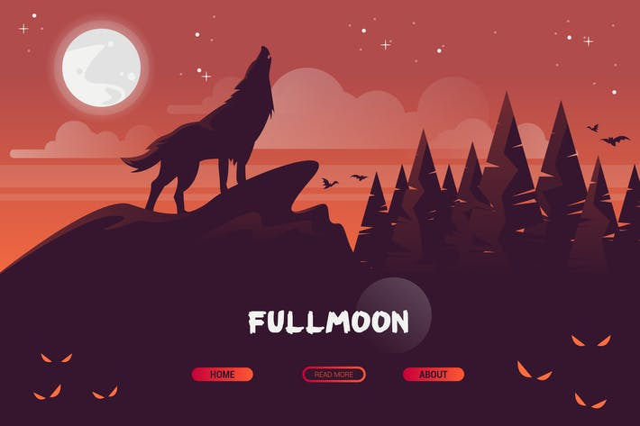 Thumbnail for Fullmoon - Vector Landscape & Building