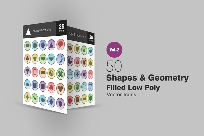 Thumbnail for 50 Shapes & Geometry Filled Low Poly Icons