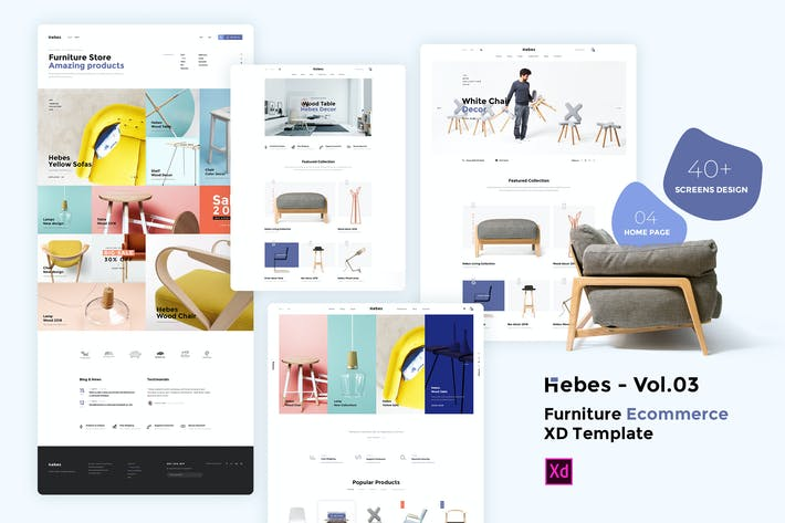 Thumbnail for HEBES Vol.03 - furniture Ecommerce XD Template