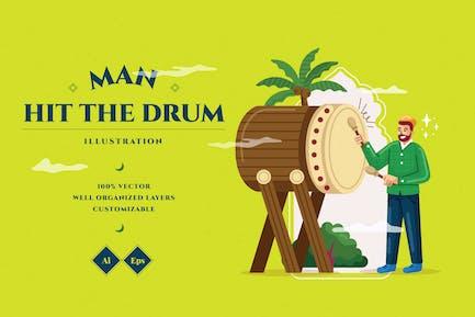 Man Hit The Drum Illustration