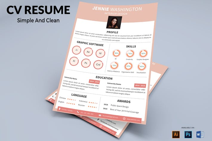 Thumbnail for CV Resume Modern And Elegant