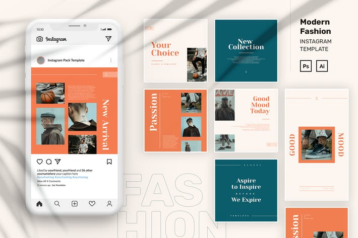 Thumbnail for Modern Fashion Instagram Pack Template PSD