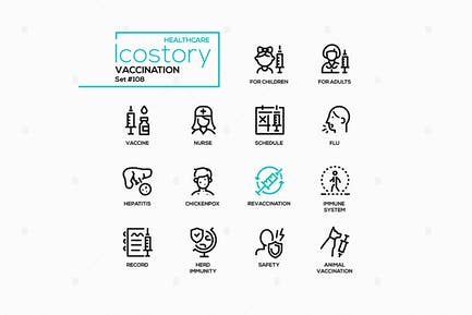 Vaccination - line design style icons set