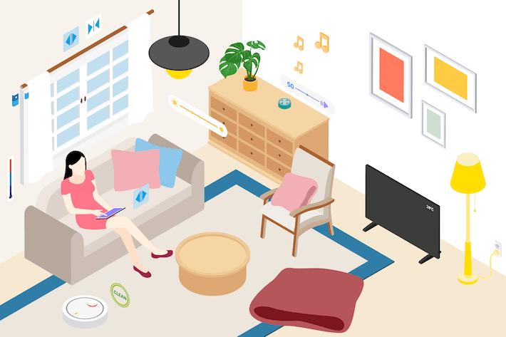 Thumbnail for Smart Home Livingroom Isometric Illustration