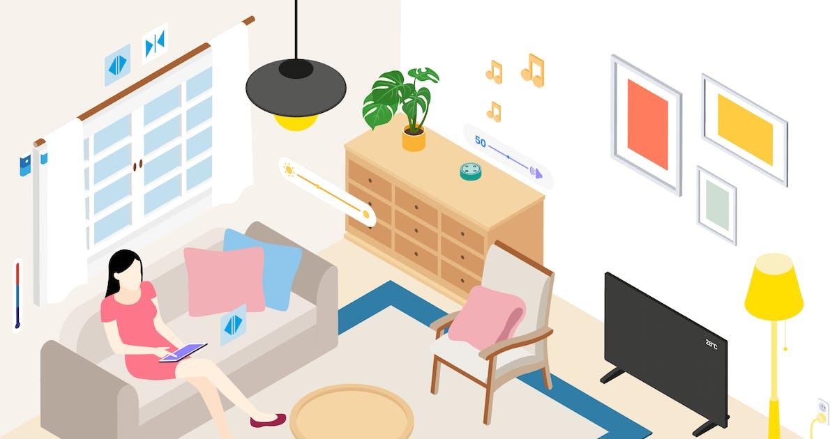 Download Smart Home Livingroom Isometric Illustration by angelbi88