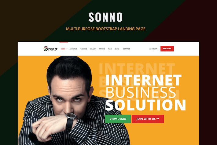 Cover Image For Sonno - Startup Marketing Landing Page WP Theme