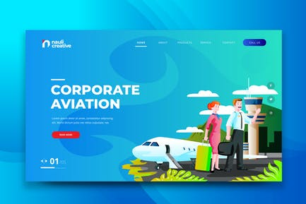 Corporate Aviation Web PSD and AI Vector Template