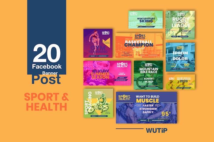 Thumbnail for 20 Facebook Post bannière - Sport et Santé