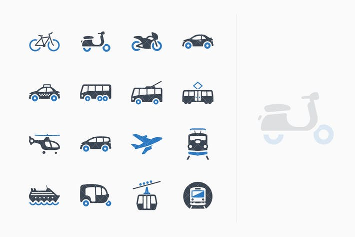 Thumbnail for Transportation Icons - Blue Series