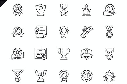 Simple Set Awards Line Icons