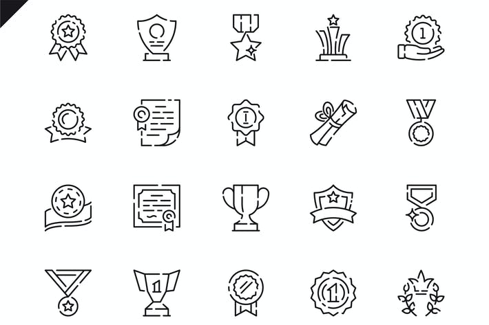 Thumbnail for Simple Set Awards Line Icons