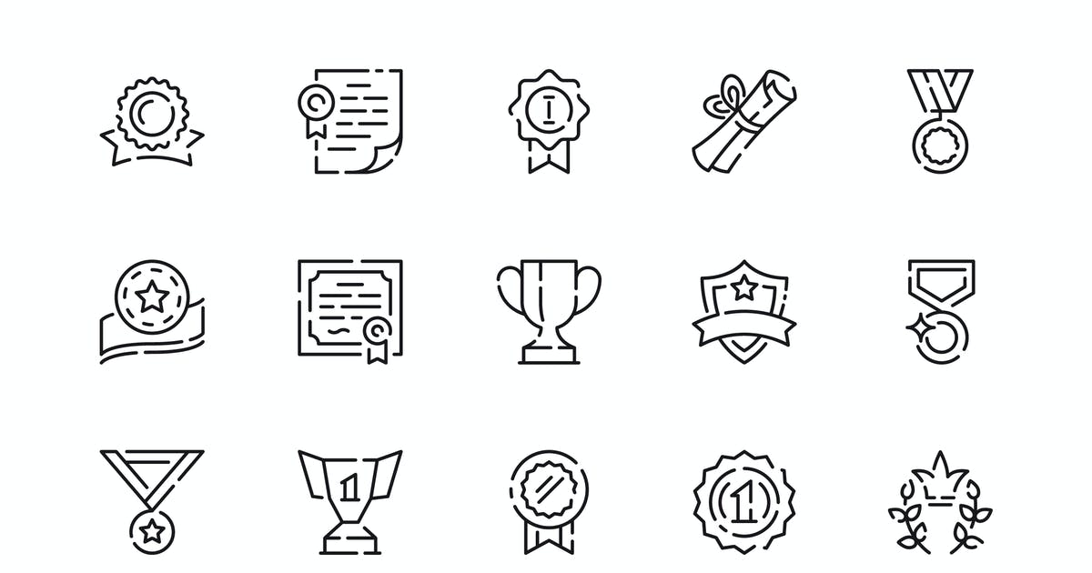 Download Simple Set Awards Line Icons by alexdndz